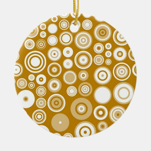 Vintage Cream and White Fifties Abstract Art Double-Sided Ceramic Round Christmas Ornament