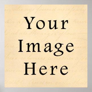 Vintage Cream Beige Script Text Parchment Paper Poster