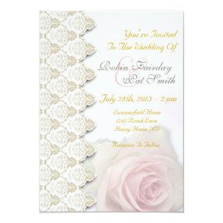 Vintage Cream Blush Damask Lace Wed Invitation 1