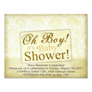 "Vintage Cream Damask Baby Shower 4.25"" X 5.5"" Invitation Card"
