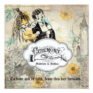Vintage Cream Floral Bride & Groom Wedding Invite