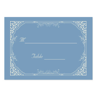 Vintage Cream Floral Frame on Blue Place Setting Large Business Cards (Pack Of 100)