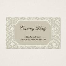 Vintage Cream Ivory Damask Business Card