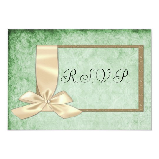 Vintage Cream Ribbon and Green Wedding RSVP Card