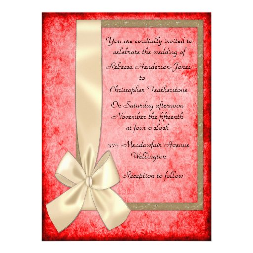 Vintage Cream Ribbon and Red Wedding Invitations