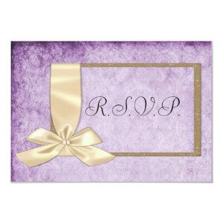"Vintage Cream Ribbon on Purple Wedding 3.5"" X 5"" Invitation Card"