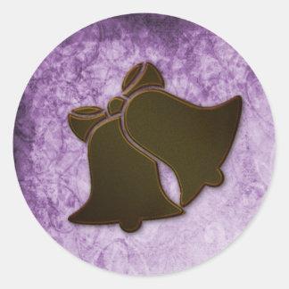 Vintage Cream Ribbon on Purple Wedding Sticker