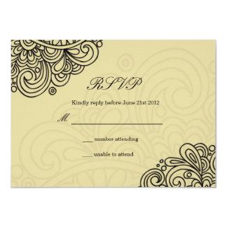 Vintage Cream Swirl Wedding RSVP Card