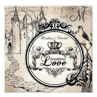 Vintage Cream Unconditional Love Wedding Invite