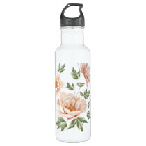 Vintage creamy orange spring floral painting stainless steel water bottle