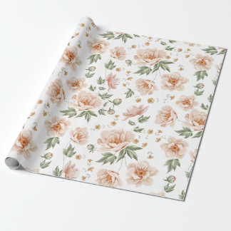 Vintage creamy orange spring floral pattern wrapping paper