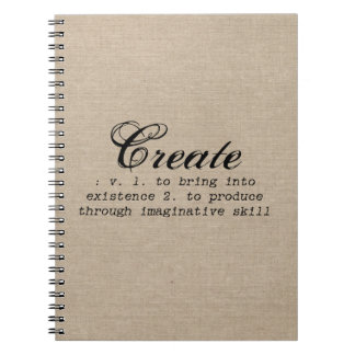 Vintage create definition rustic girly chic brown spiral notebook
