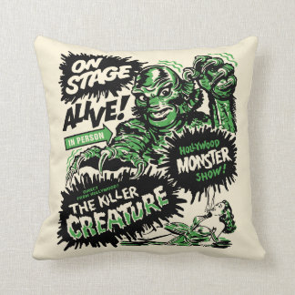 Vintage Creature Monster Spook Show Throw Pillow