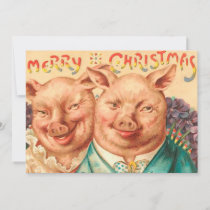 vintage Creepy Pigs Christmas Couple Holiday Card