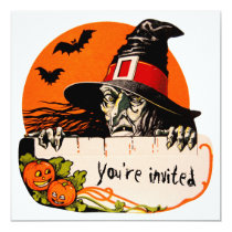 Vintage Creepy Witch Halloween Party Invitation