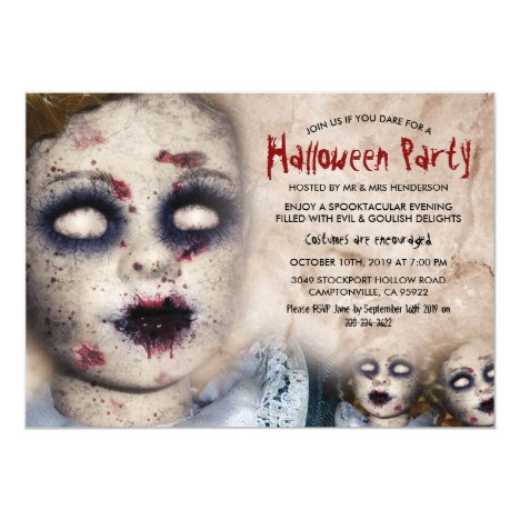 Vintage Creepy Zombie Doll Halloween Party Invitation