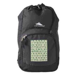 Vintage Creme Green Leaf Vines High Sierra Backpack