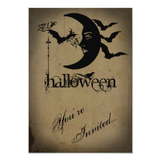 Vintage Crescent Moon and Bats Halloween Party Card