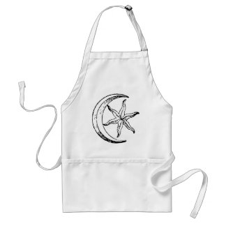 Vintage Crescent Moon and Star Adult Apron