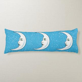 Vintage Crescent White Moon Face White Stars Body Pillow
