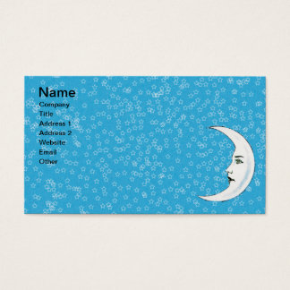 Vintage Crescent White Moon Face White Stars Business Card