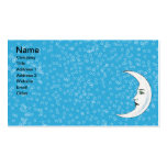 Vintage Crescent White Moon Face White Stars Business Card Template