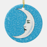 Vintage Crescent White Moon Face White Stars Christmas Ornament