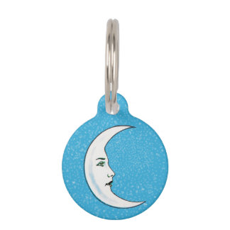 Vintage Crescent White Moon Face White Stars Pet ID Tag