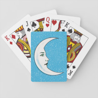 Vintage Crescent White Moon Face White Stars Playing Cards