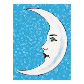 Vintage Crescent White Moon Face White Stars Postcard
