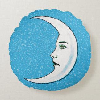 Vintage Crescent White Moon Face White Stars Round Pillow