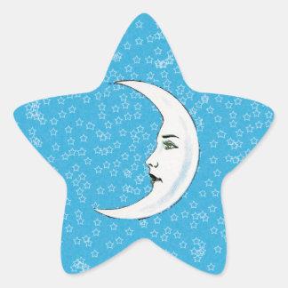 Vintage Crescent White Moon Face White Stars Star Sticker