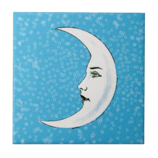 Vintage Crescent White Moon Face White Stars Small Square Tile
