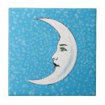 Vintage Crescent White Moon Face White Stars Tiles