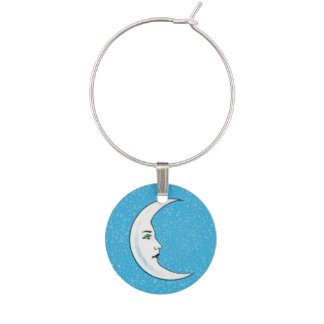 Vintage Crescent White Moon Face White Stars Wine Glass Charm