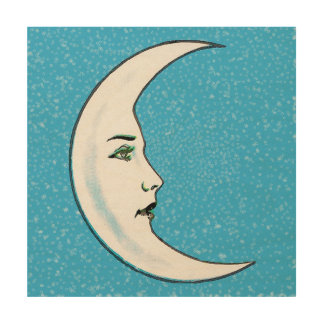 Vintage Crescent White Moon Face White Stars Wood Canvas