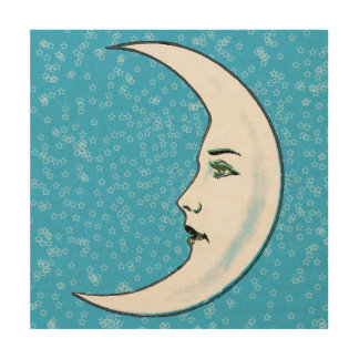 Vintage Crescent White Moon Face White Stars Wood Print