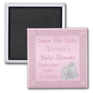 Vintage Crib Pink Save the Date Baby Shower 2 Inch Square Magnet