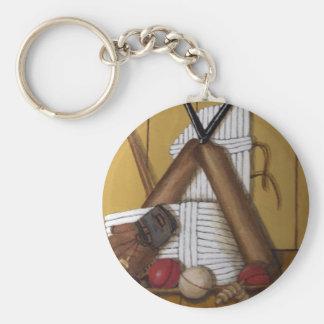 Vintage Cricket Basic Round Button Keychain