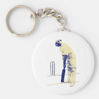 vintage cricketing meerkat. basic round button keychain