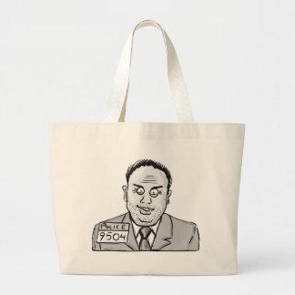 Vintage Criminal Sketch Large Tote Bag