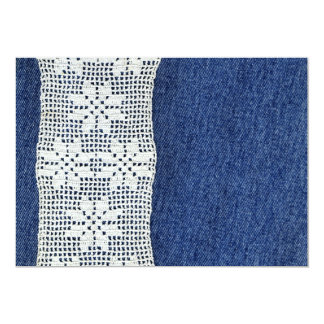 Vintage Crochet Lace and Denim Invitation