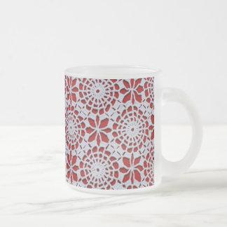 Vintage Crochet Pattern Frosted Glass Coffee Mug