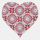 Vintage Crochet Pattern Heart Sticker