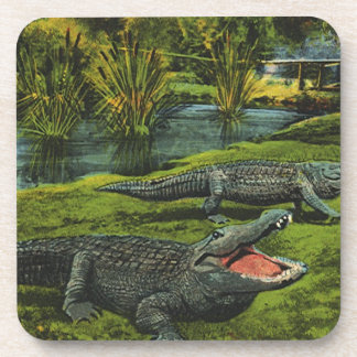 Vintage Crocodiles, Marine Life Animals, Reptiles Beverage Coaster