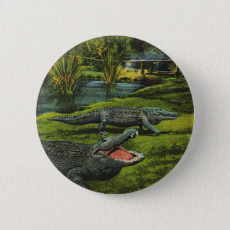 Vintage Crocodiles, Marine Life Animals, Reptiles Pinback Button