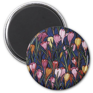 Vintage Crocus Flowers in a Garden, Floral Pattern Magnet