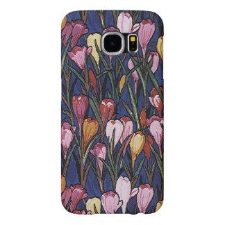 Vintage Crocus Flowers in a Garden, Floral Pattern Samsung Galaxy S6 Cases