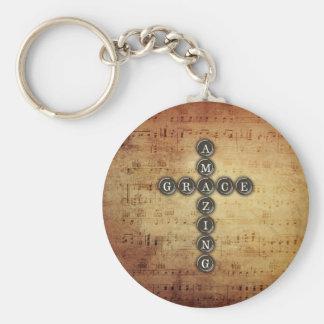Vintage Cross Amazing Grace Music Notes Basic Round Button Keychain