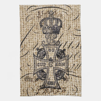 vintage cross and crown design on burlap backgroun hand towels